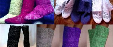 Дешевые вязаные сапоги и туфли